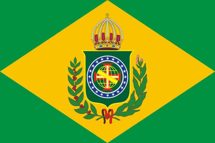 A primeira bandeira do Brasil foi a bandeira imperial elaborada por Jean-Baptiste Debret.*