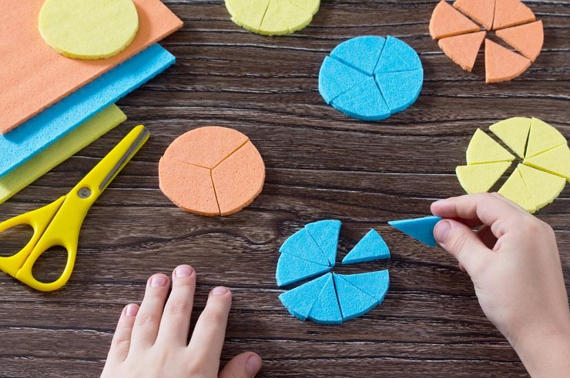 Círculos em papel usados para representar frações: partes de um objeto dividido igualmente