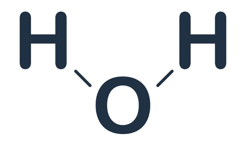 A molécula de água é formada por dois átomos de hidrogênios ligados a um de oxigênio.