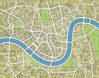 Exemplo de um mapa na visão vertical ilustrando ruas e avenidas
