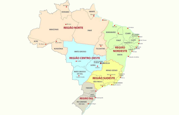 O Brasil é dividido em cinco regiões, segundo a regionalização do IBGE.