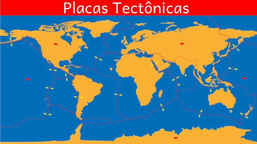 Placas tectônicas são grandes blocos rochosos semirrígidos que se encontram sobre o magma do manto.