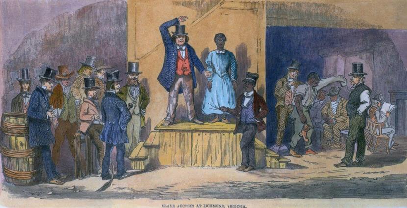 Ilustração retratando o cenário de uma venda de escravo no século XIX.