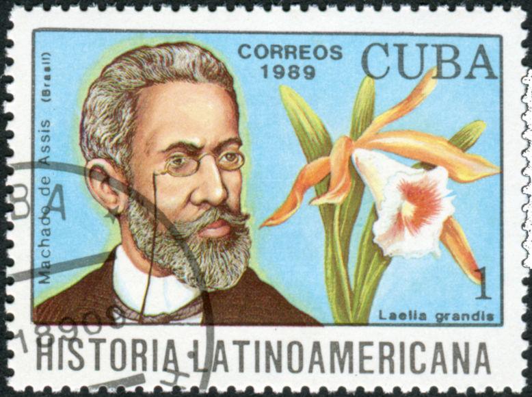 Selo cubano com a imagem de Machado de Assis, um dos maiores nomes do Realismo brasileiro.*