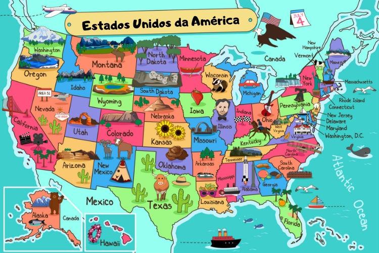 Os Estados Unidos são uma nação composta por cinquenta estados, localizada no continente americano.