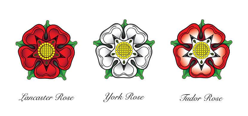 A Guerra das Rosas colocou as famílias Lancaster e York em disputa pelo trono da Inglaterra.
