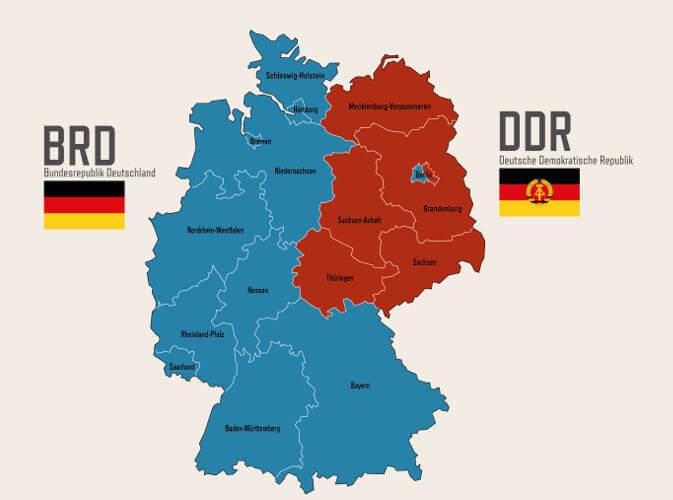 Em azul, está o território da Alemanha Ocidental (aliada aos EUA) e de vermelho, está o território da Alemanha Oriental (aliada à URSS).