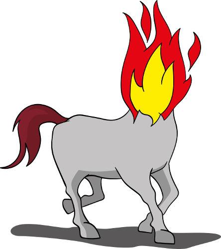 No folclore brasileiro, a mula sem cabeça é conhecida por ter labaredas de fogo no lugar da cabeça.