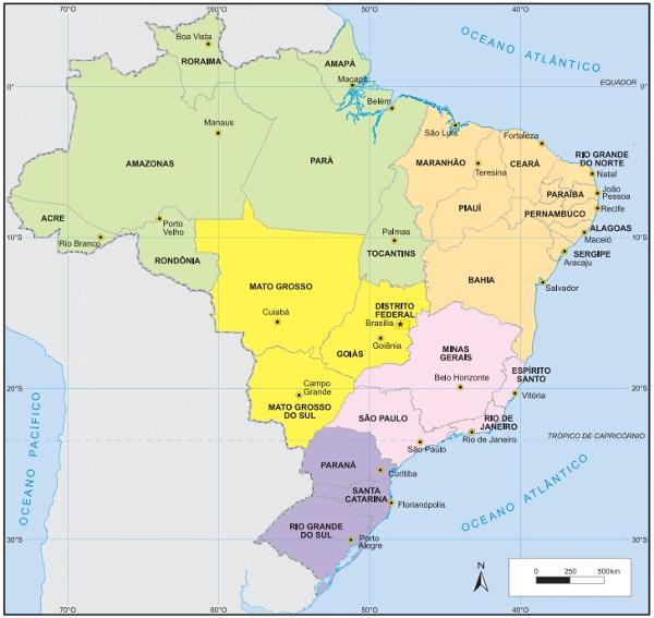O Brasil possui 26 capitais estaduais e 1 capital federal.