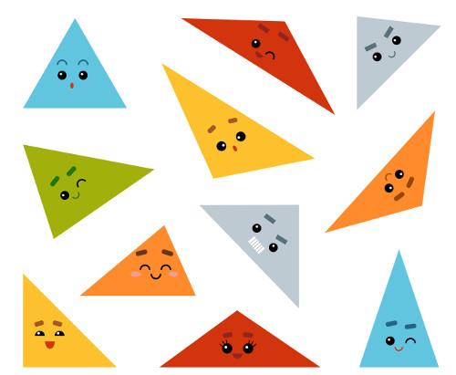 Diferentes tipos de triângulos.