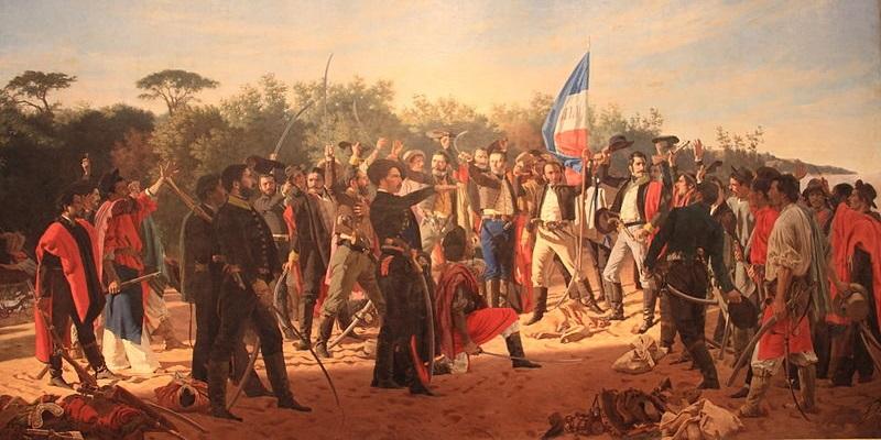 Em abril de 1825, os 33 orientais declararam o fim do domínio brasileiro na Cisplatina, e esse acontecimento iniciou a Guerra da Cisplatina. [1]