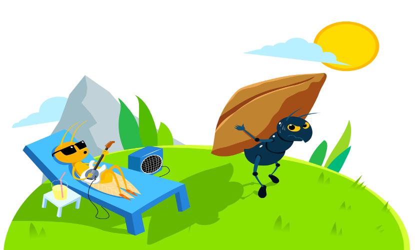 A cigarra e a formiga é uma das fábulas mais famosas e trata do tema da responsabilidade.