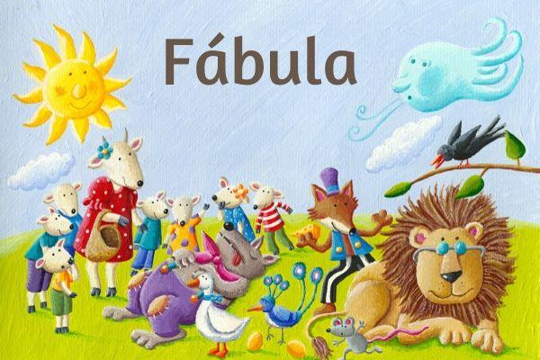 Na fábula, as personagens são animais com características humanas.