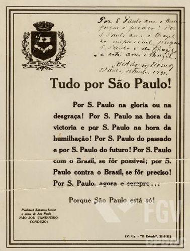 Cartaz de 1931 expressa a insatisfação de São Paulo com o governo de Getúlio Vargas. [1]