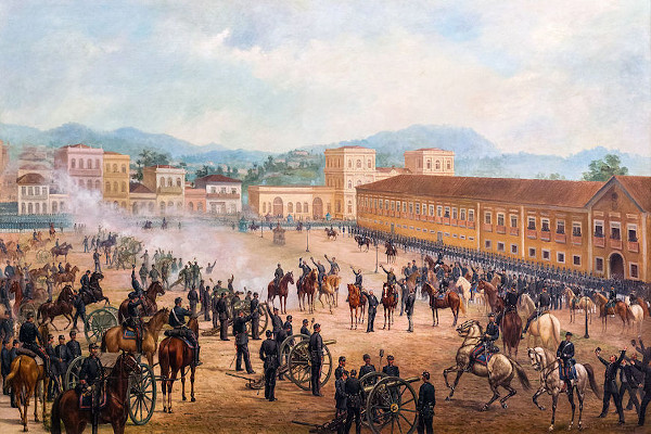 Quadro pintado por Benedito Calixto, em 1893, retratando a Proclamação da República, que ocorreu em 15 de novembro de 1889.
