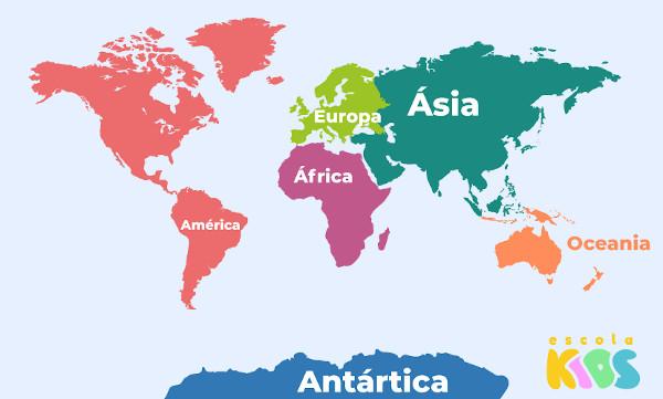 A divisão do mundo em continentes