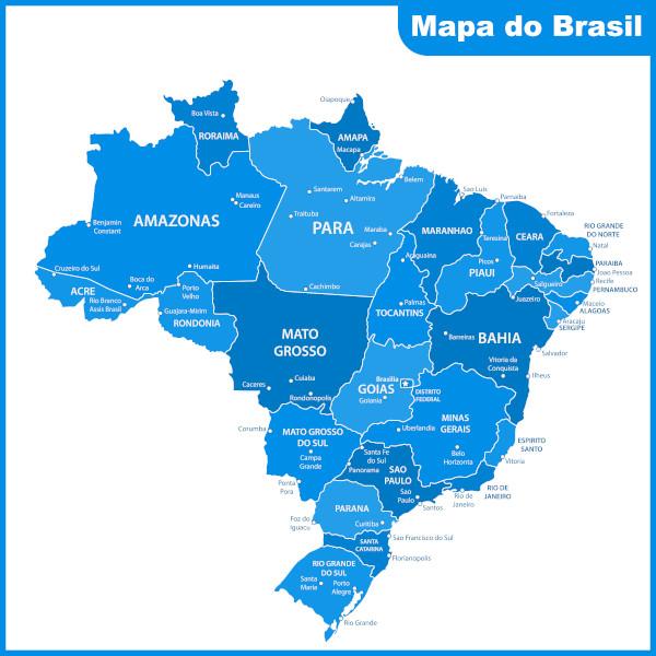O mapa do Brasil pode representar seu território sob diversos aspectos. Um deles é sob o aspecto político, por meio da divisão territorial.