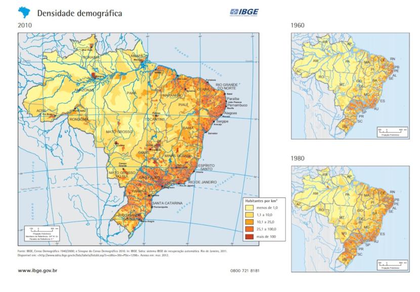 Mapa de densidade demográfica brasileira