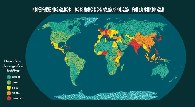 Mapa densidade demográfica mundial