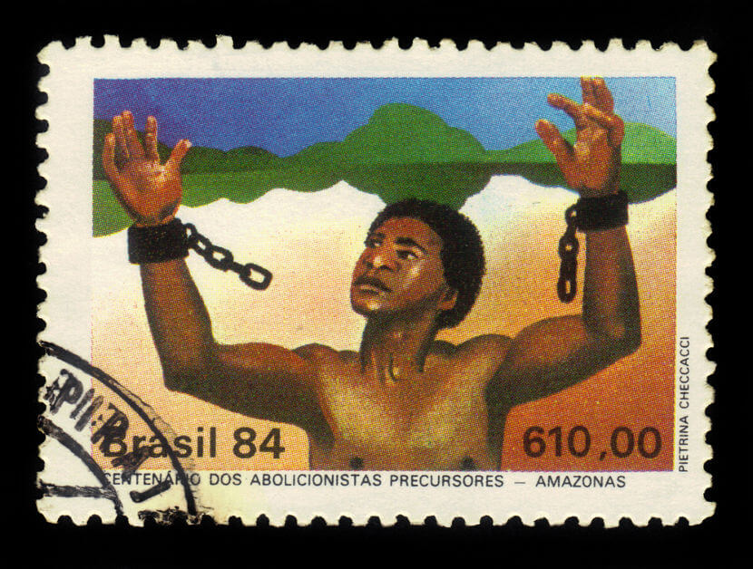 Selo comemorativo celebrando o pioneirismo do Amazonas como um dos primeiros estados a abolir o trabalho escravo.**