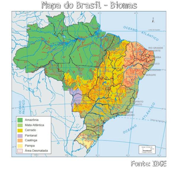 Mapa dos biomas brasileiros, segundo a classificação do IBGE.