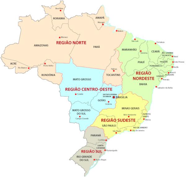 O Instituto Brasileiro de Geografia e Estatística divide o território brasileiro em cinco regiões: Norte, Sul, Nordeste, Centro-Oeste e Sudeste.