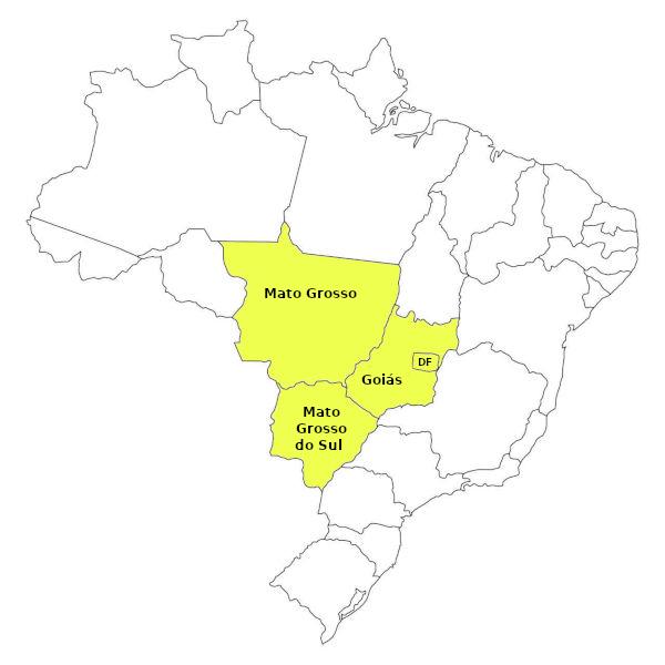 A Região Centro-Oeste do Brasil, representada no mapa, é composta por três estados e o Distrito Federal. (Fonte: IBGE)
