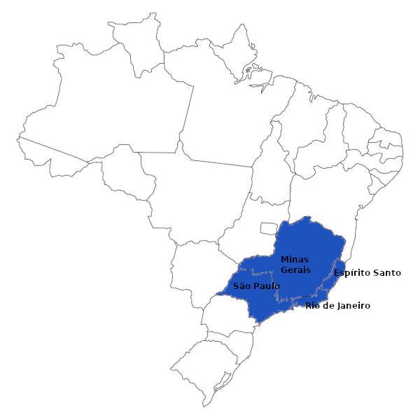 A Região Sudeste do Brasil, representada no mapa, é composta por quatro estados, sendo eles importantes centros econômicos do país. (Fonte: IBGE)