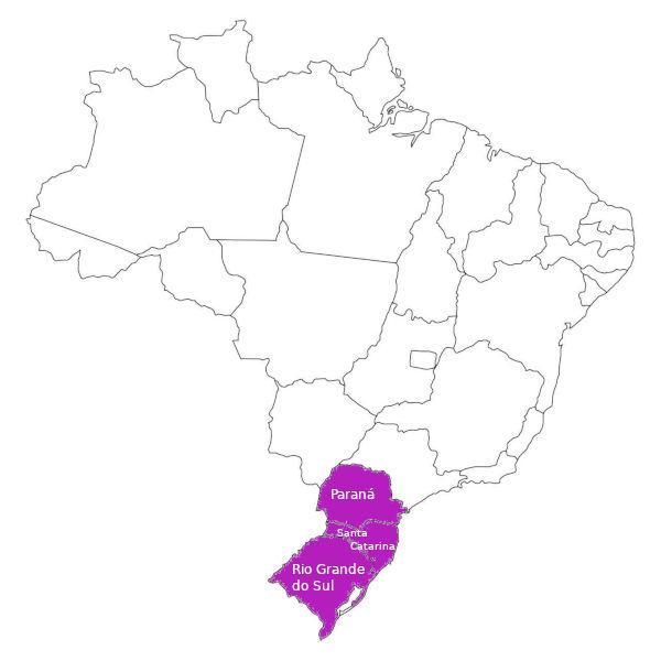 A Região Sul, representada no mapa, é composta por três estados e é a menor região do país. (Fonte: IBGE)
