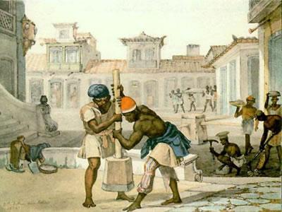 Calçadores, de Jean-Batist Debret (1768-1848). Obra mostra escravos de ganho, principais participantes da revolta dos Malês