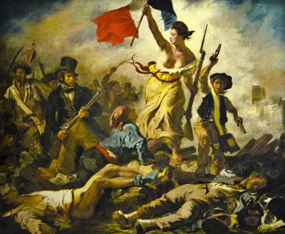 Tela de Eugène Delacroix (1798-1863), Liberdade nas Barricadas, símbolo da República Francesa