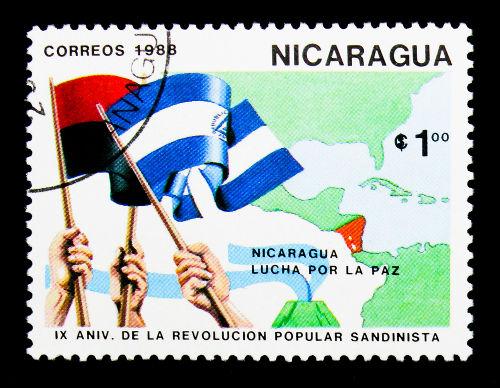 Selo nicaraguense comemorando o aniversário de nove anos da Revolução Sandinista, de 1979.*