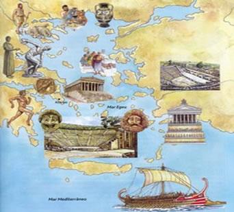 Mapa da Grécia com figuras que simbolizam os aspectos da cultura grega.