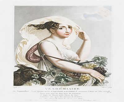 Representação do mês de Vindimiário, do calendário revolucionário francês, indicando o início da colheita da uva