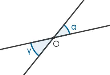 Os ângulos em destaque são opostos pelo vértice O