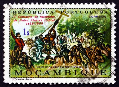 Selo da República portuguesa em homenagem a Pedro Álvares Cabral.*
