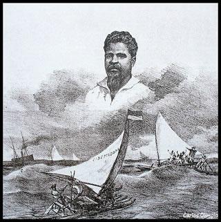 Desenho de Ângelo Agostini (1843-1910) retratando Francisco José do Nascimento, jangadeiro que se opôs ao transporte de escravos em Fortaleza