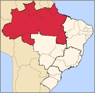 Localização da Região Norte no mapa do Brasil