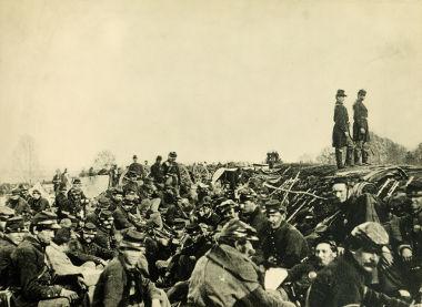Soldados do Norte dos EUA acampados durante a Guerra Civil