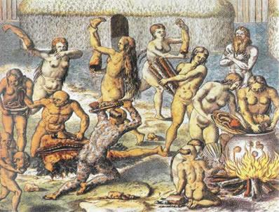 Ritual antropofágico desenhado por Theodore de Bry (1528-1598)