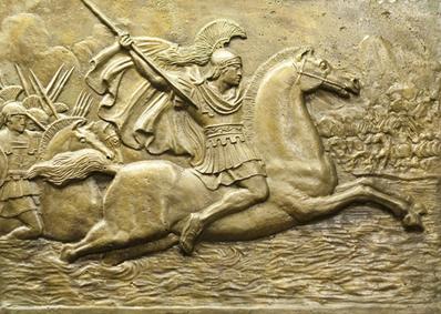 Relevo em bronze retratando Alexandre Magno e o exército do Império Macedônico