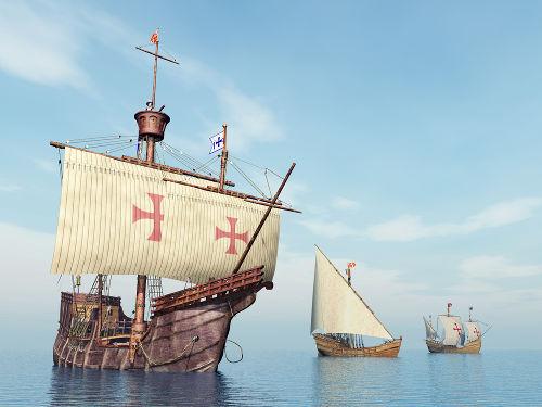 Caravelas comandadas por Colombo e usadas para atravessar o Oceano Atlântico