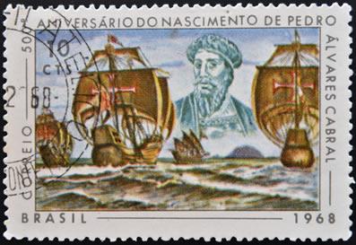 Selo criado em homenagem ao navegador português Pedro Álvares Cabral. *