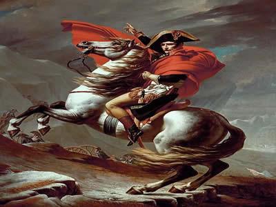Tela Napoleão guiando suas tropas pela passagem de São Bernardo, de Jacques-Louis David (1748-1825), uma das mais famosas representações de Bonaparte