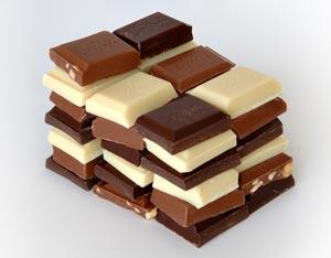 Partes de um chocolate, frações da barra inteira.