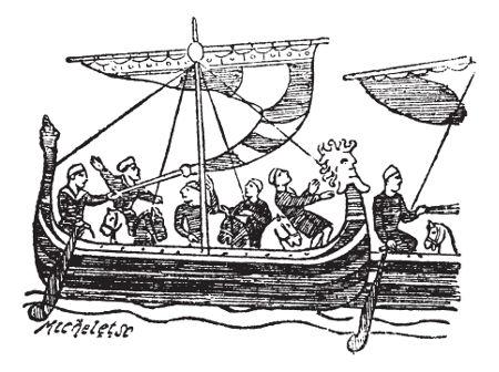 Ilustração do século XIX retrata o principal modelo de um navio normando