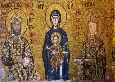 Exemplo de um mosaico bizantino. O legado cultural deixado pelo Império Bizantino influenciou inclusive o Renascimento