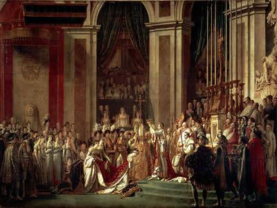 Coroação de Napoleão I e da Imperatriz Josephine em Notre-Dame de Paris, obra de Jacques-Louis David (1748-1825)