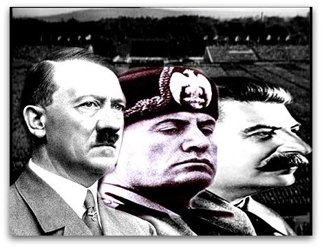 Principais líderes totalitários no século XX. Da esquerda para à direita: Adolf Hitler, Benito Mussolini e Josef Stálin