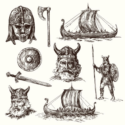 Acima, desenhos que retratam os povos bárbaros